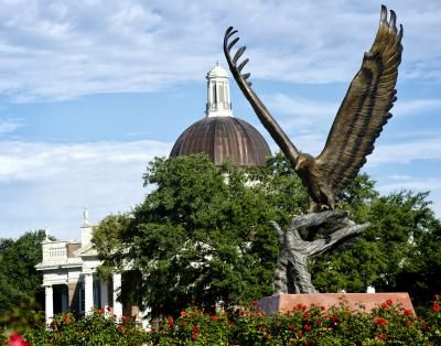 """2013 Produces Many Memorable Moments at Southern Miss  - an F4 Tornado that damaged the campus and a beautiful large statue of the USM """"Golden Eagle"""" - The bird alone is 22 feet tall and 20 feet wide."""