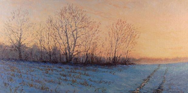 Sunrise Over Winter Fields By Kathleen Kalinowski Oil 12 X 24 Winter Landscape Painting Landscape Paintings Winter Landscape