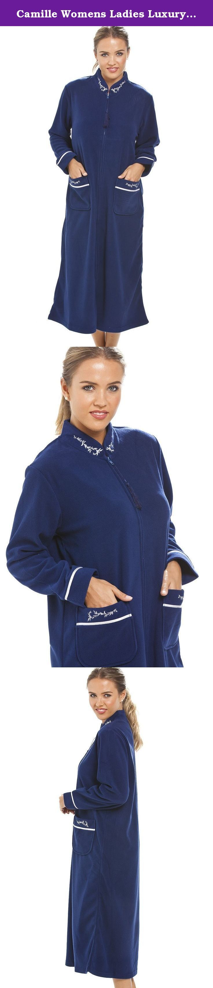 Camille Womens Ladies Luxury Navy Blue Zip Up Housecoat Bath Robe 14/16 BLUE. Brand New At Camille! The Pockets And The Collar On This Classic Housecoat Feature A Pretty Floral Design.