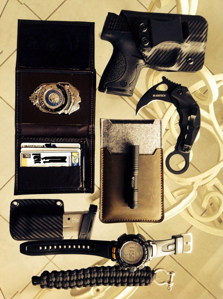 M&P Shield••9mm w/Extra Mag & Cooks••Carbon Fiber IWB Holster + Blade Tech••Riptide Karambit + Casio••Pathfinder Watch + Custom Leather••Phone Sleeve + Brown Leather••Badge Wallet + Streamlight••Microstream + Custom Survival Bracelet