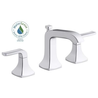 KOHLER Rubicon 8 in. Widespread 2-Handle Bathroom Faucet in Polished Chrome-K-R76216-4D-CP - The Home Depot