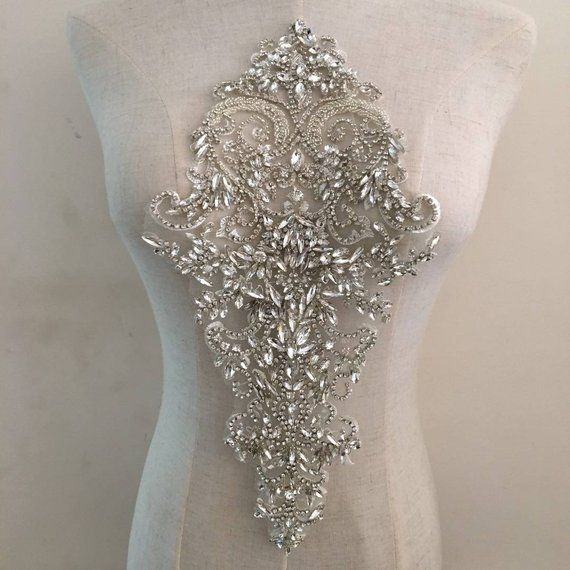 Rhinestone Bodice Applique Large Crystal Applique Crystal Bodice Applique For Wedding Dress Bridal Supplies Bodice Applique Bridal Applique Rhinestone Appliques