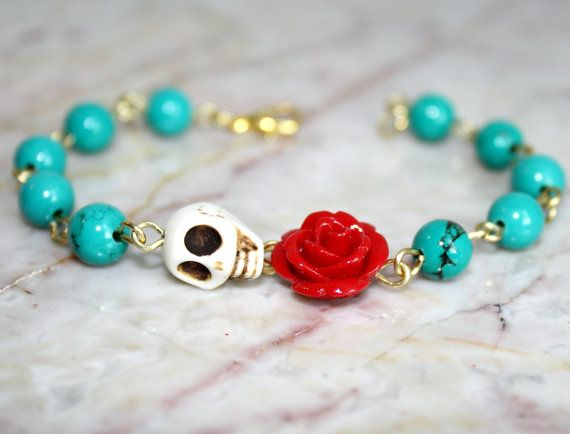 Original Day of the Dead Green Turquoise Red Rose Frida Kahlo's Flower Jewelry Atlanta White Sugar Skull Bracelet