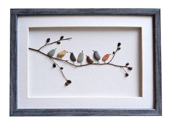 Birds wall art, Pebble art birds, Nursery decor, Rustic home decor, New home housewarming gif…