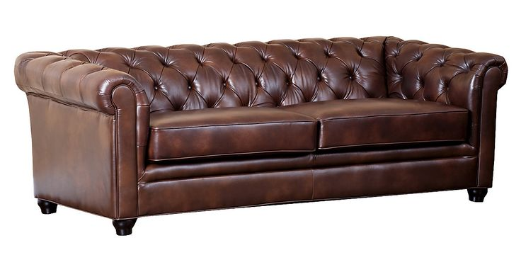 1999. Crafted of durable, high-grade Italian leather that is both soft and supple, this two-tone sofa is both comfortable and sophisticated. Tufted details add to the allure of the piece.