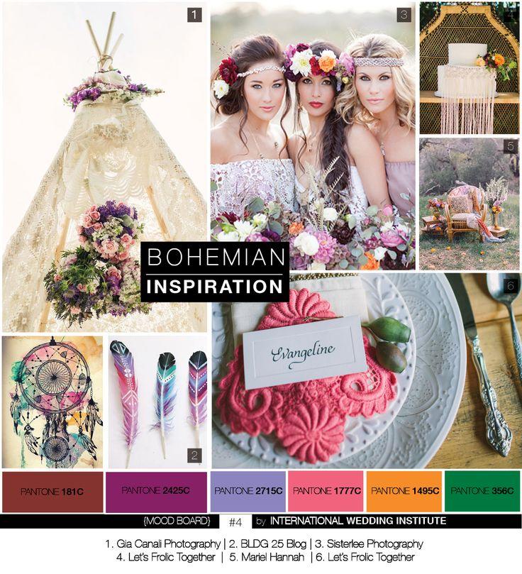 #planche d' #inspiration #bohème : Des idées pour un mariage champêtre romantique & vintage, palette de couleurs multicolore (bordeaux/marsala, prune, violine, rose, vert de hooker, mandarine ...), attrape-rêves et tipi, couronne de fleurs, wedding cake décoré de macramé, ... Retrouvez toute notre collection de Mood Boards sur : http://www.internationalweddinginstitute.com/fr/blog-mariage/inspiration-mariage/planche-inspiration-moodboard/    Mood Board #12 par International Wedding Institute