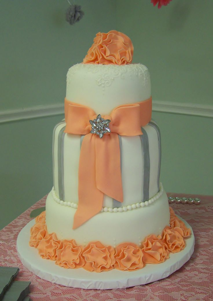 peach white and silver wedding cake 45 best wedding cakes by sherry images on cake 18154