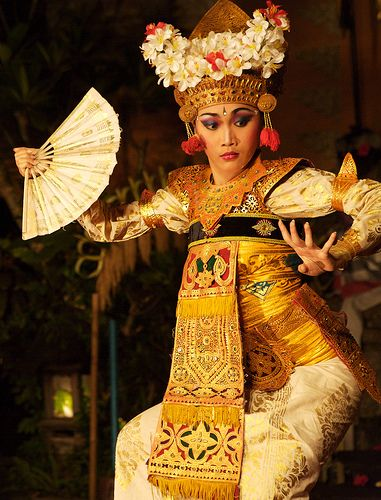 Balinese dancer. It's the hands that are so special in this dance. Fingers must be able to bend waay back.