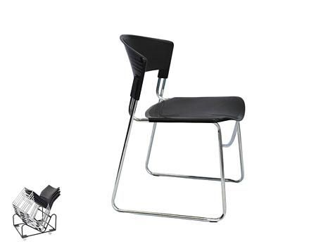 C16 - Visitor Chair Plastic Black with Chrome Seats. Stackable and Linking 3 Year Warranty