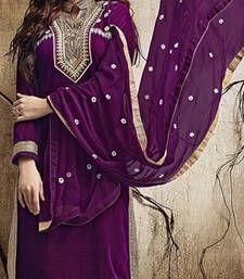 Buy Purple embroidered velvet semi stitched salwar with dupatta party-wear-salwar-kameez online