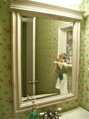 master bathroom framed mirror