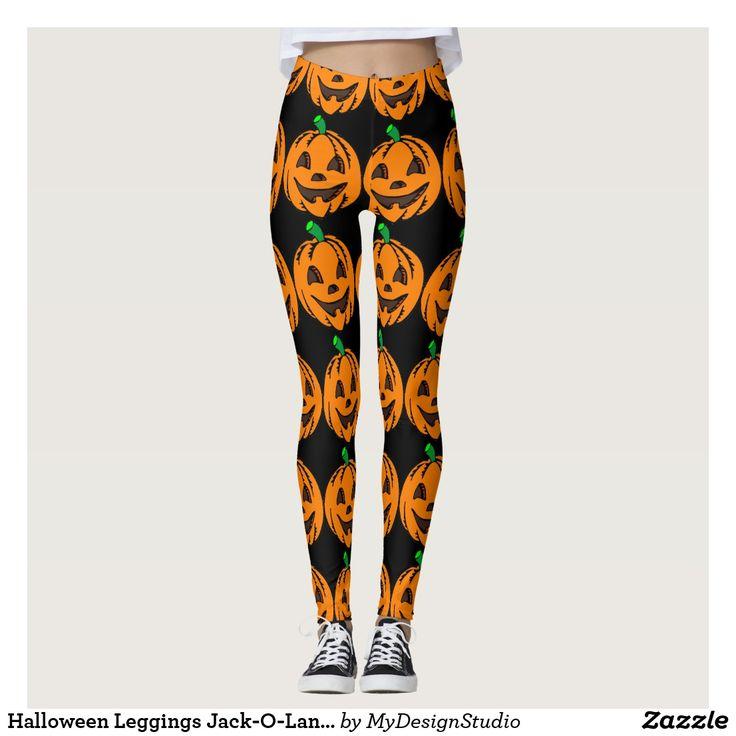 Halloween Leggings Jack-O-Lanterns Orange Pumpkins
