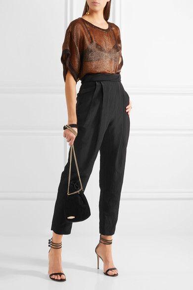 Carmen March - Taffeta Tapered Pants - Black - FR38