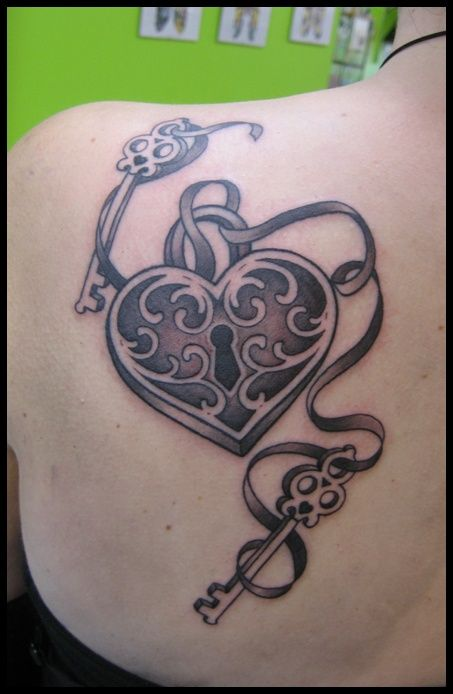I like this for a mother's tattoo, two keys (my kids) will always hold the keys to my heart.