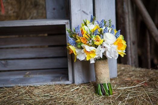 Spring bridal bouquet with daffodils