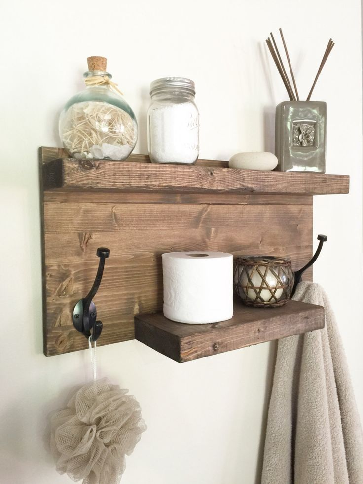 Rustic bathroom towel rack, rustic shelf, farmhouse decor, bathroom shelf with hooks, bathroom storage, floating shelf by NorthernOaksDecorCo on Etsy https://www.etsy.com/listing/472444597/rustic-bathroom-towel-rack-rustic-shelf