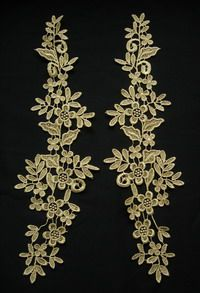 VT270-2 Long Paired Floral Metallic Trims Lace Applique Gold [VT270-2] - $7.50 : Angeltrim supply sequin bead applique, venice applique, chinese frog button, trim lace, hotfix rhinestone,garment accessories