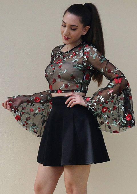 c12af54d143b9  SHEIN  Fluted  Sleeve  Botanical  Sheer  Mesh  Crop  Top  Elegant Long  Sleeves  Women  Blouses  Autumn  Black  Embroidered  Slim  Sexy  Blouse