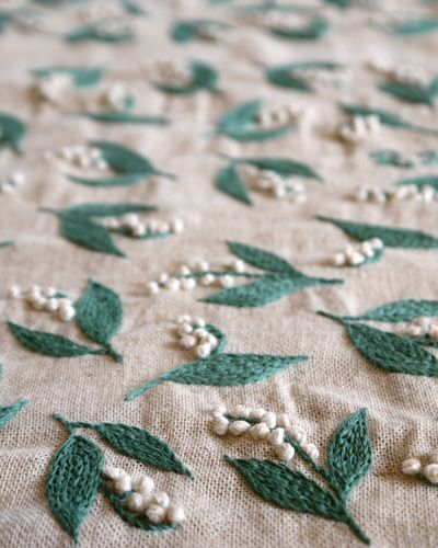 Lily of the Valley Embroidery using French Knots