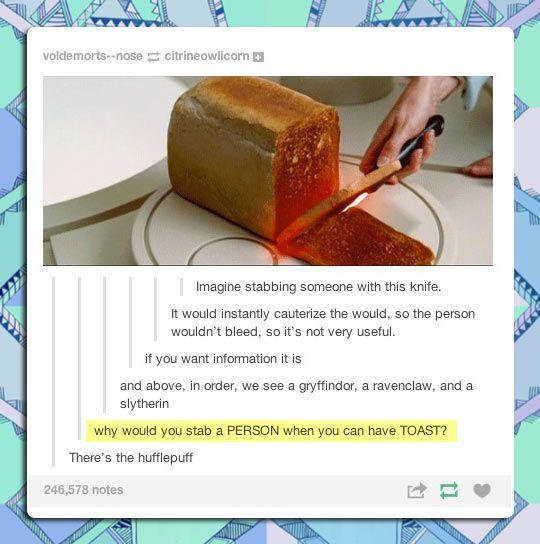 HP + toast = comical genius