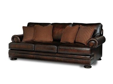 bernhardt foster leather sofa in rich dark brown