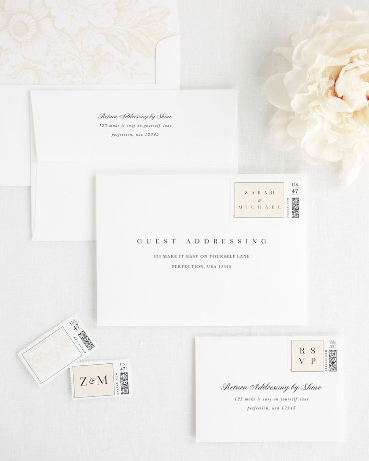 Wedding Invitation Envelopes with Champagne Personalized Stamps and Garden Rose Liner