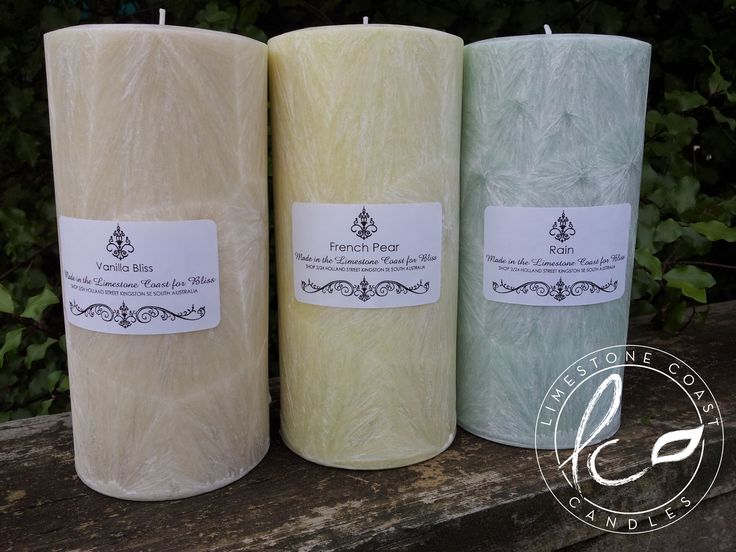Hand poured textured pillar candles. Made for Bliss at Kingston SE in South Australia's Limestone Coast Region.