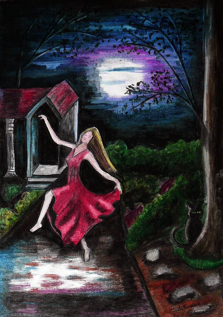 """Dance of the moonlight"" #moon #dance#art#figure#cat#oils#painting#mystical I saw her and gasped as she danced the most beautiful dance, there in the moonlight, She had no idea she was being watched, which only enhanced her beauty... http://www.saeart.com/"