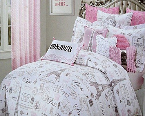 5pc Full/Queen Size Designer Nicole Miller Pink & Gray Paris Eiffel Tower Comforter Set ...