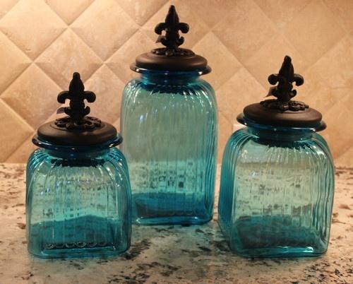 Tuscan Old World Fleur de Lis Teal Blue Glass Canisters | eBay