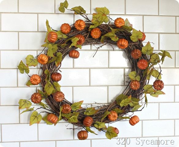 dollar store pumpkin wreath