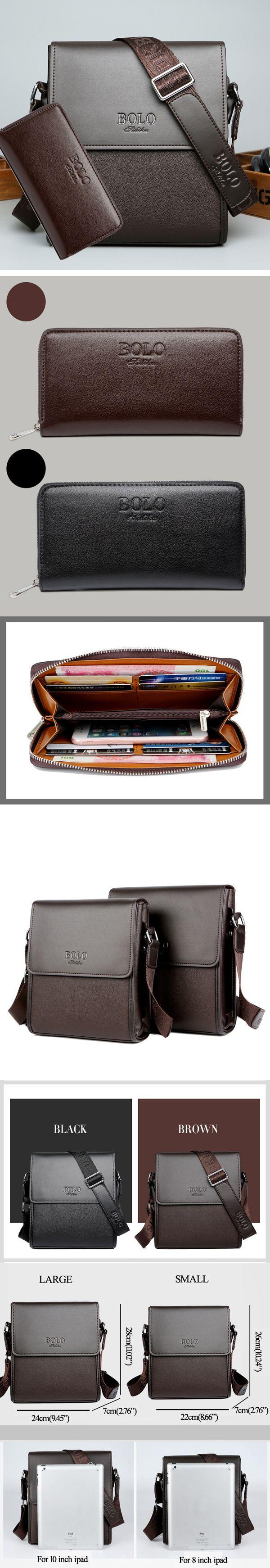 Men Business Shoulder Bag Casual Messenger Bag Black Brown Crossbody Bag