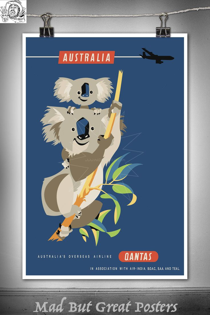 Qantas - Australia - Koala - Harry Rogers - 1960s, travel poster, vintage, wall art, home decor, gift, airlines, transport, tourism, office by MadButGreatPosters on Etsy