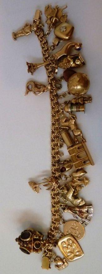 8K gold Vintage Charm Bracelet w/ 23 Unique 18K & 14K yellow gold Signed Charms..