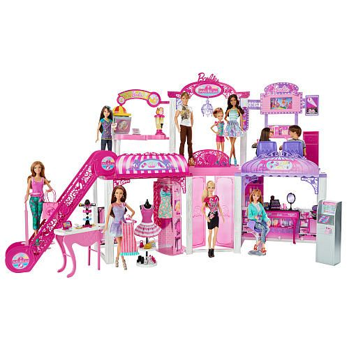 Your child can take Barbie and her friends shopping at the Malibu Mall with the Barbie Shopping Mall Playset (dolls sold separately). The dolls can browse for new outfits at the clothing boutique