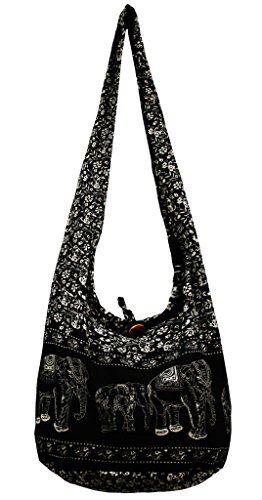 972b86b28e51 Hippie Elephant Purse Thai Top Zip Pattern Handmade Tribal Hmong Boho Cotton  Sling Crossbody Bag