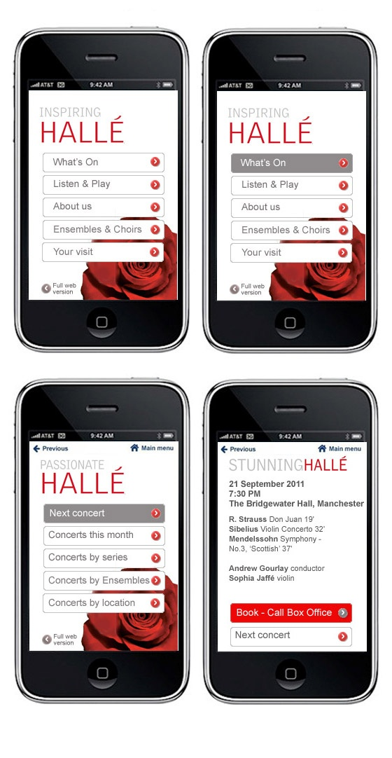 Mobile site design for the Halle.