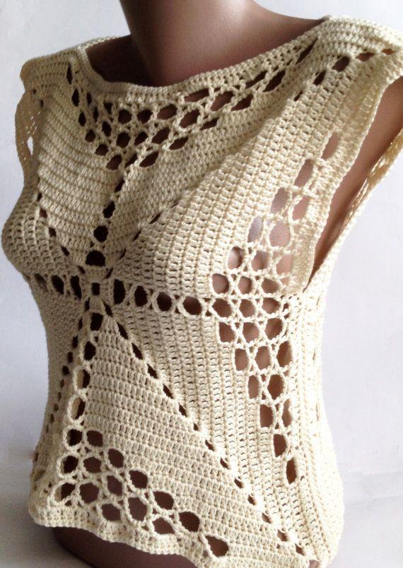 Sale Crochet crop top/ Halter summer top/ Bohemia by ElenaVorobey