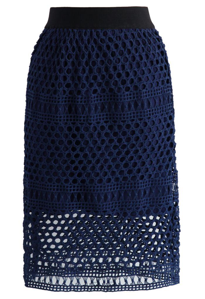 Dark Blue Crochet Pencil Skirt - Skirt - Bottoms - Retro, Indie and Unique Fashion