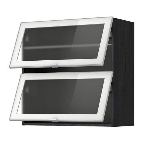 МЕТОД Навесн горизонтал шкаф/2 зерк дверц - 80x80 см, под дерево черный, Ютис матовое стекло/алюминий - IKEA