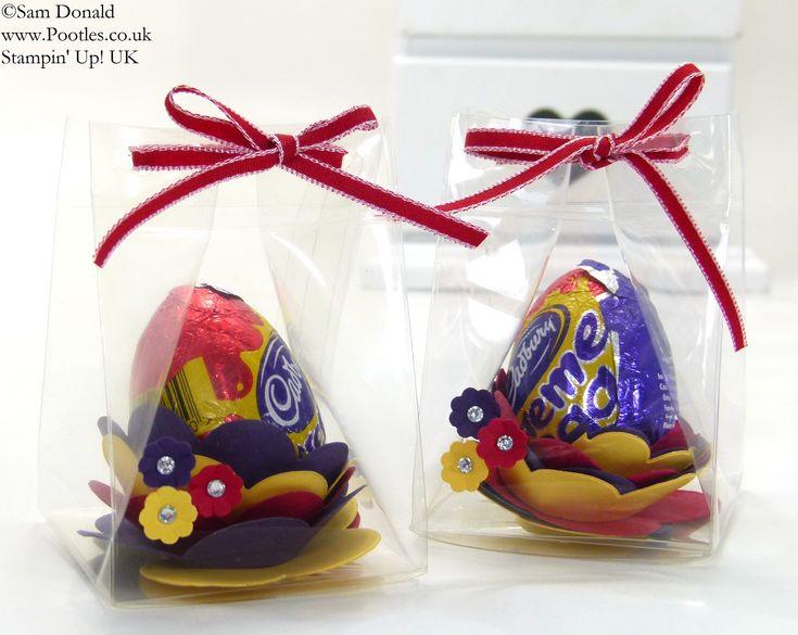 Easter Egg Spiral Flower Die Clear Box Tutorial CraftsEaster IdeasEgg CraftsGift CraftsTreat HolderStampin UpEaster