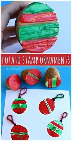 Potato Stamping Craft: Christmas Ornament Bulbs (Christmas craft for kids to make) #Card idea | CraftyMorning.com