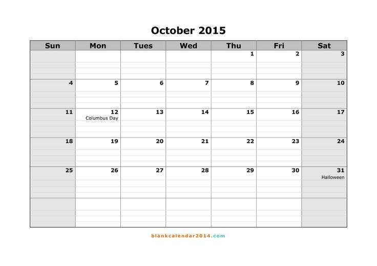 57 Best October 2015 Calendar Images On Pinterest Monthly