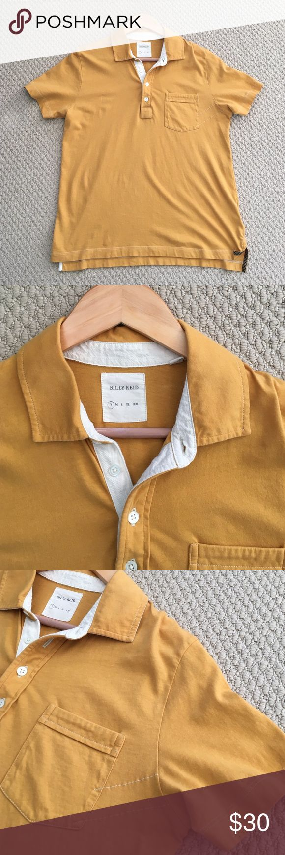 SALE! Billy Reid Polo Shirt • Mustard Yellow • EUC This mustard yellow shirt-sleeve polo shirt from Billy Reid is in fantastic shape! It is very comfortable and shows no signs of wear! Size Small Billy Reid Shirts Polos