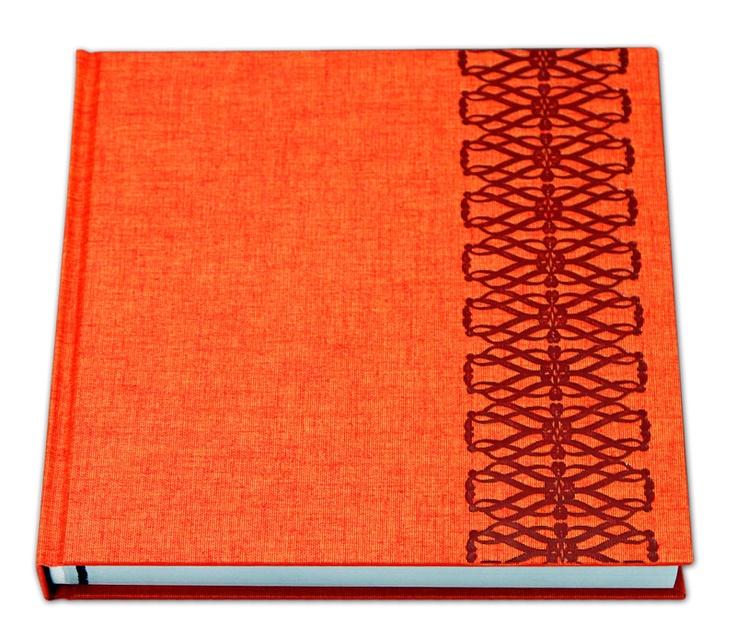 Linen Orange cover with Celtic Designer Emboss in Metallic Red foil