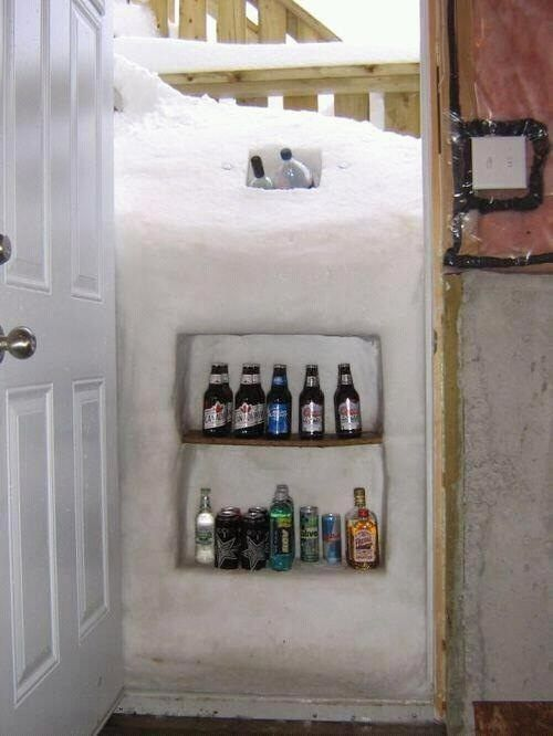 homemade liquor cabinet-why didn't we ever think of this!: Idea, Winter, Fridge, Snow, Funny Stuff, Humor