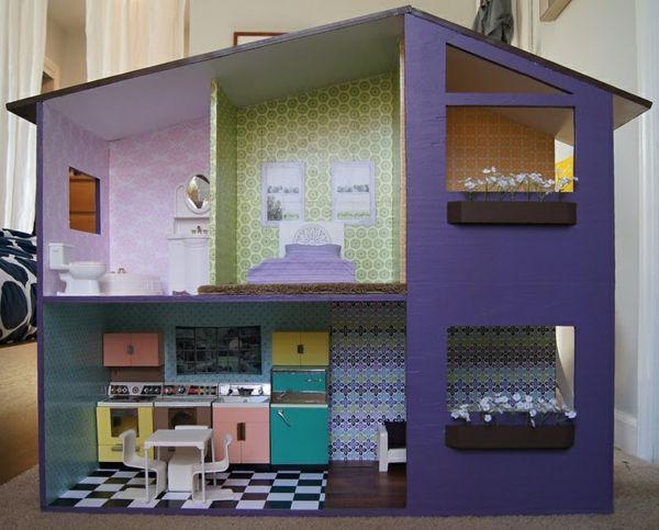 puppenhaus holz selber bauen streichen originelle idee. Black Bedroom Furniture Sets. Home Design Ideas