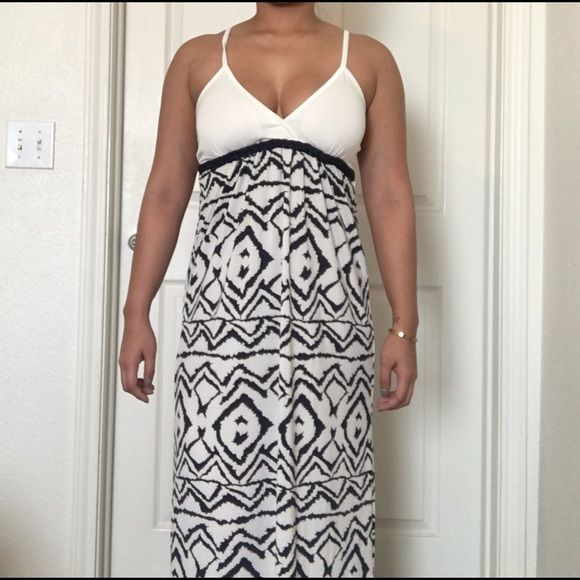 Nautical Maxi Dress  Selling this nautical maxi dress in off-white and navy blue. Overlapping v-neck (with thin padding on the bust) is very flattering! Spaghetti straps are adjustable & the dress is 45inches from underarm to hem. Cute colors and rope detail around the bust make this dress PERFECT for spring break or any other vacation!  Cristinalove Dresses Maxi
