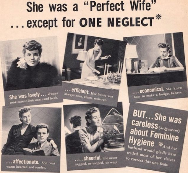Funny Vintage Ads: This Lysol ad neatly catalogs all the expectations of good wives in the 1930s.