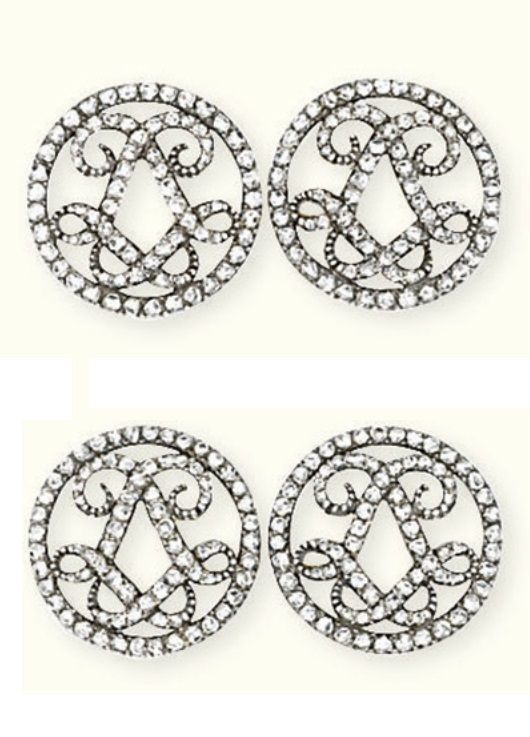 A PAIR OF ANTIQUE DIAMOND CUFFLINKS, CIRCA 1900. Each circular openwork panel with rose-cut diamond border and entwined double L monogram, mounted in silver and gold, with French assay marks for gold and maker's mark. #antique #Clufflinks